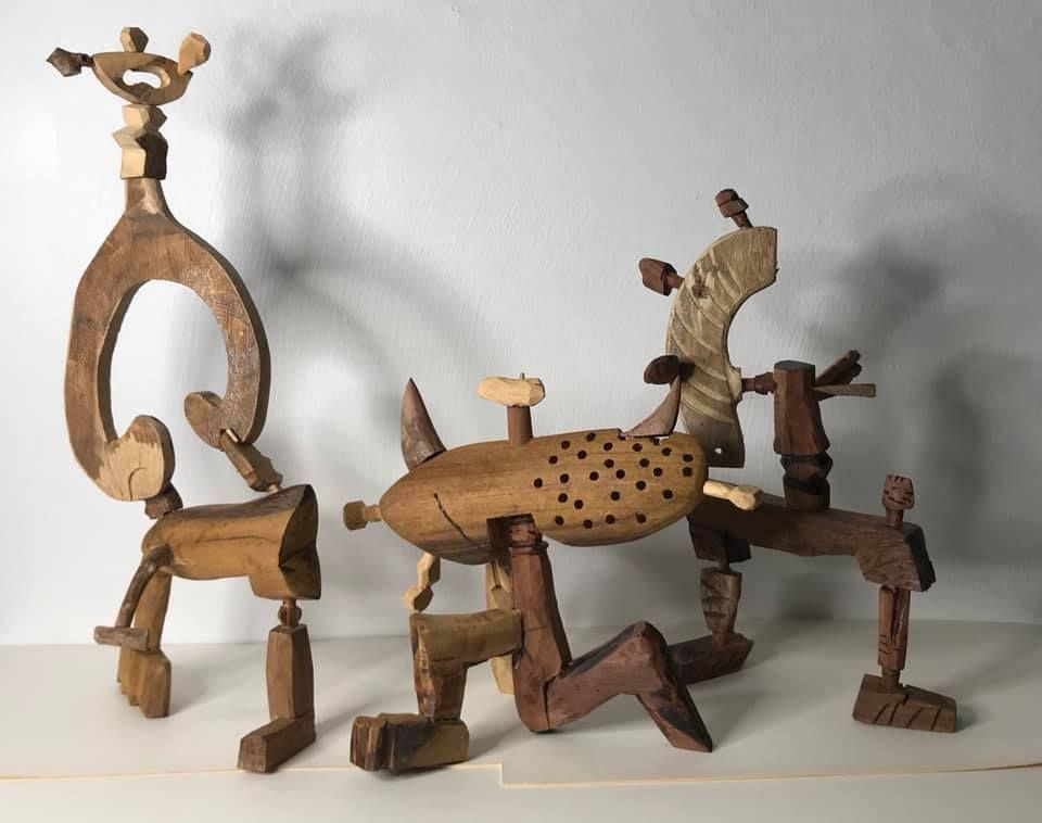 Part of Rosli's wood-based sculpture series inspired by the pandemic project, which began in early April.