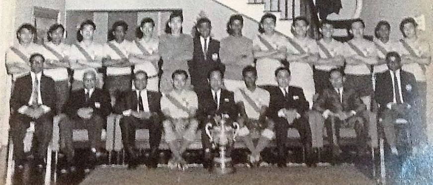 Thanabalan (standing, second from right) with the Selangor squad and officials after the Malaysia Cup finals in 1968 when he bagged four goals as Selangor hammered Penang 8-1.