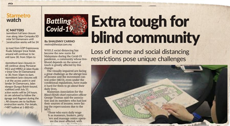 StarMetro's article on June 2 which highlighted the plight of the visually-impaired.