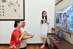 Couple hold virtual wedding reception