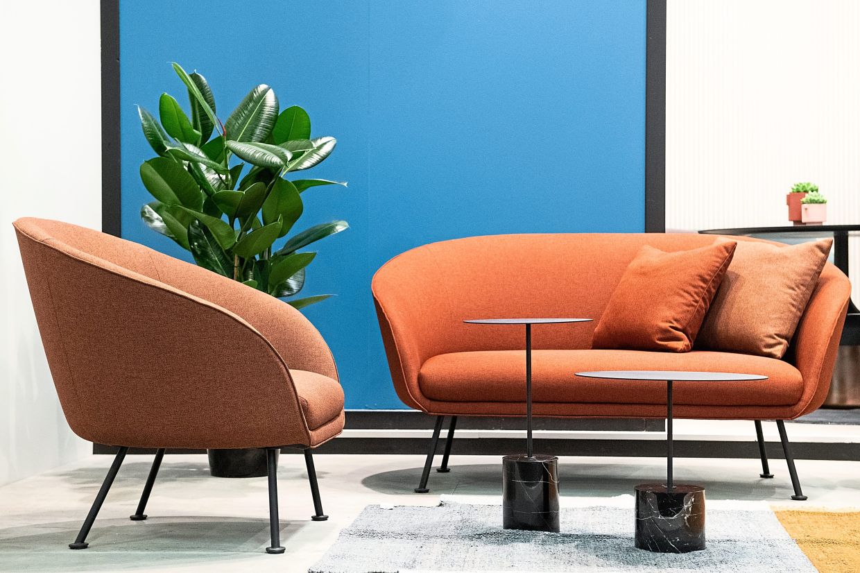 Sofas are slimming down: Instead of large lounging areas, a combination of small sofa and armchair is popular, as seen in these designs by WON.