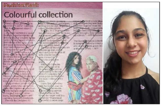 Budding artist: Diksha, pictured on the right, shows her art piece, which she titles 'Picasso's Geometry Class'.