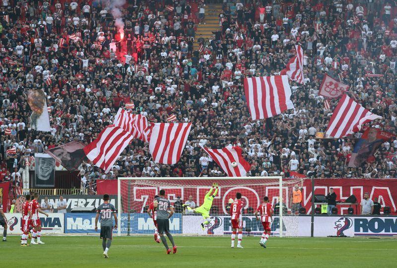 FILE PHOTO Serbian SuperLiga - Crvena Zvezda v Proleter Novi Sad - Rajko Mitic Stadium Belgrade Serbia - June 20 2020   General view inside the stadium during the match   REUTERSMarko Djurica