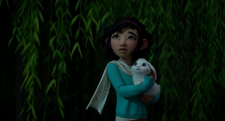 Fei Fei looks longingly at the moon. Photo: Netflix