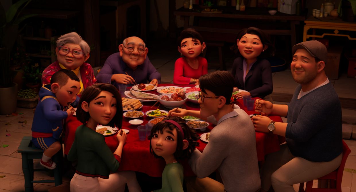 A scene from 'Over The Moon', with (from back left clockwise) Grandma (voiced by Irene Tsu), Grandpa (Clem Chung), Auntie Mei (Kimiko Glenn), Auntie Ling (Margaret Cho), Uncle (Artt Butler), Father (John Cho), Fei Fei (Cathy Ang), Mrs. Zhong (Sandra Oh) and her son, Chin (Robert G. Chiu). Photo: Netflix