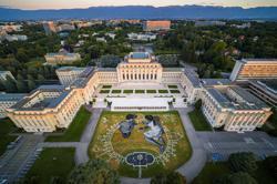Biodegradable grass fresco in Geneva marks U.N.'s 75th anniversary