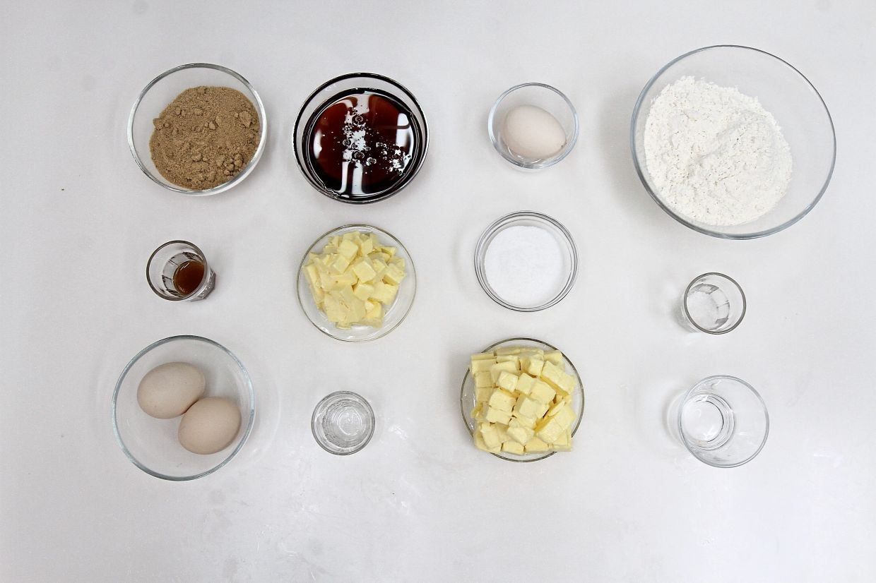 Ingredients for butter tarts include butter, both for the pastry and filling, as well as eggs, brown sugar and maple syrup for a unique flavour and texture.