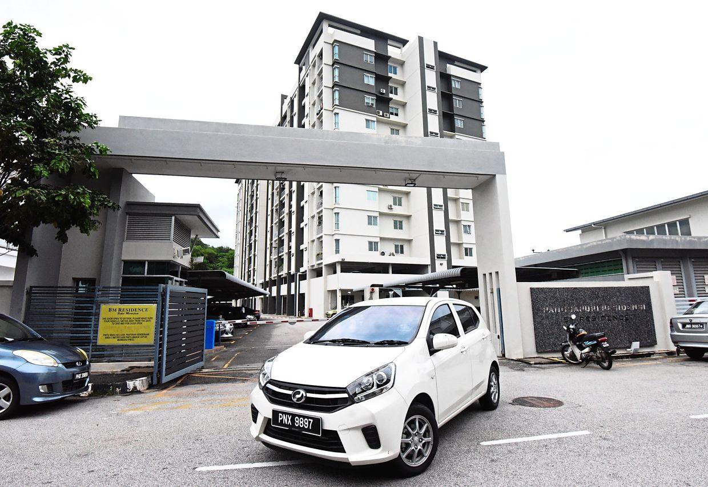View of Pangsapuri Residensi in Taman Manggis Indah, Bukit Mertajam.  It is the first apartment complex in Seberang Prai to receive a life-saving AED for residents to use.