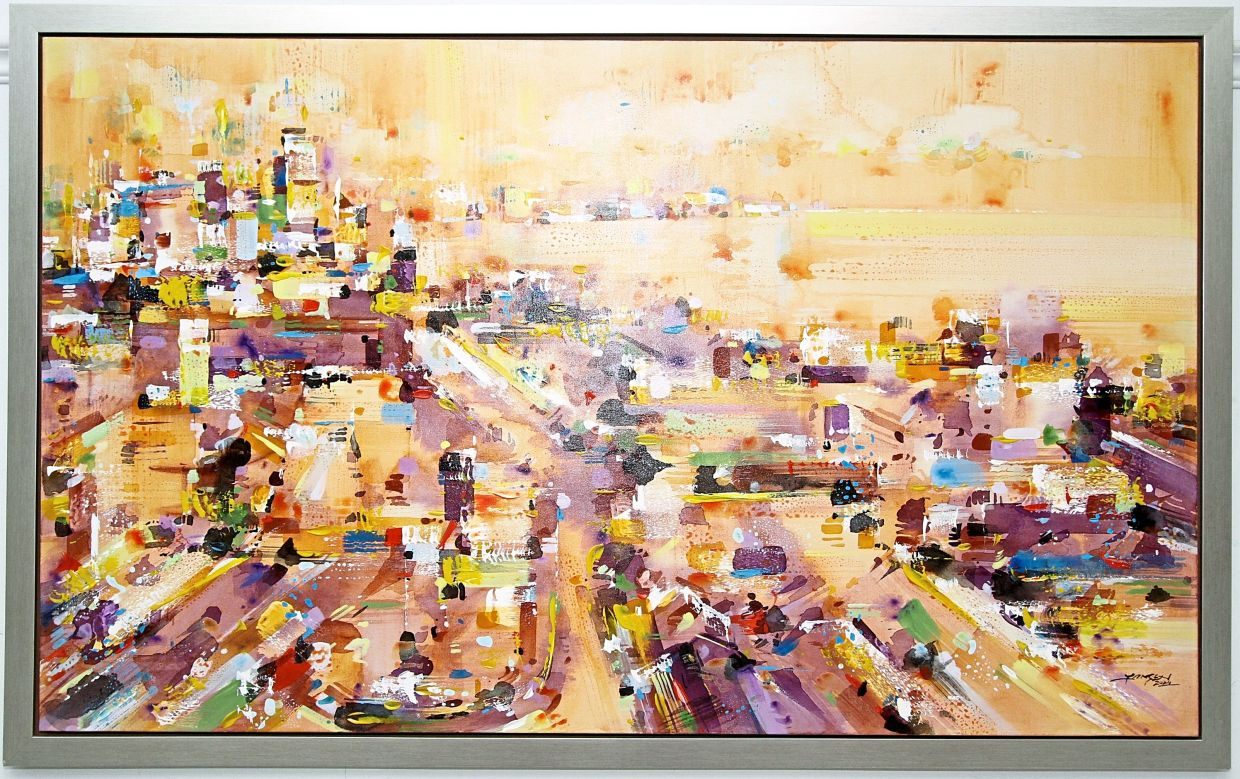 Chow's 'Sky View of George Town' captures the bustling city in warm hues.