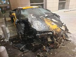 Luxury sports car hit with 'petrol bomb'