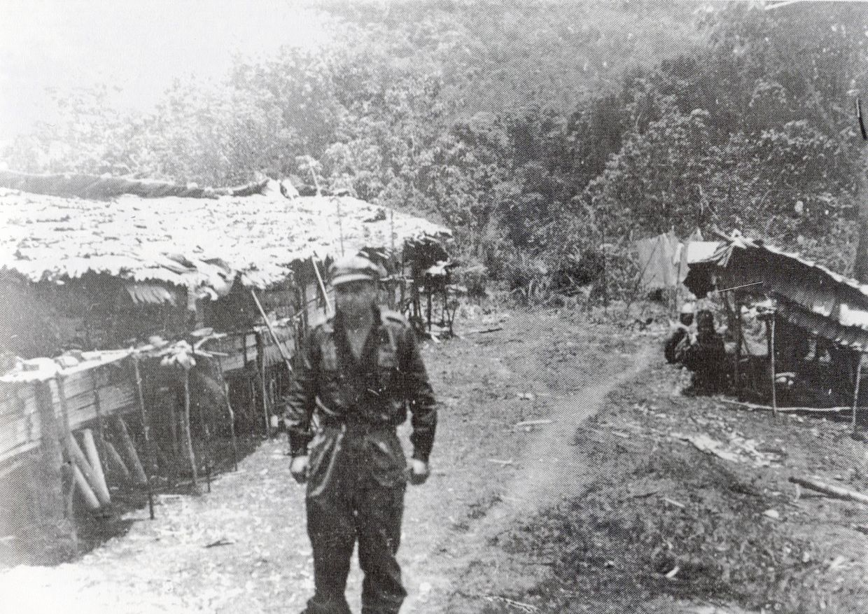 Major Tom Harrisson at Semut 1 base.  Photo: Sarawak Museum