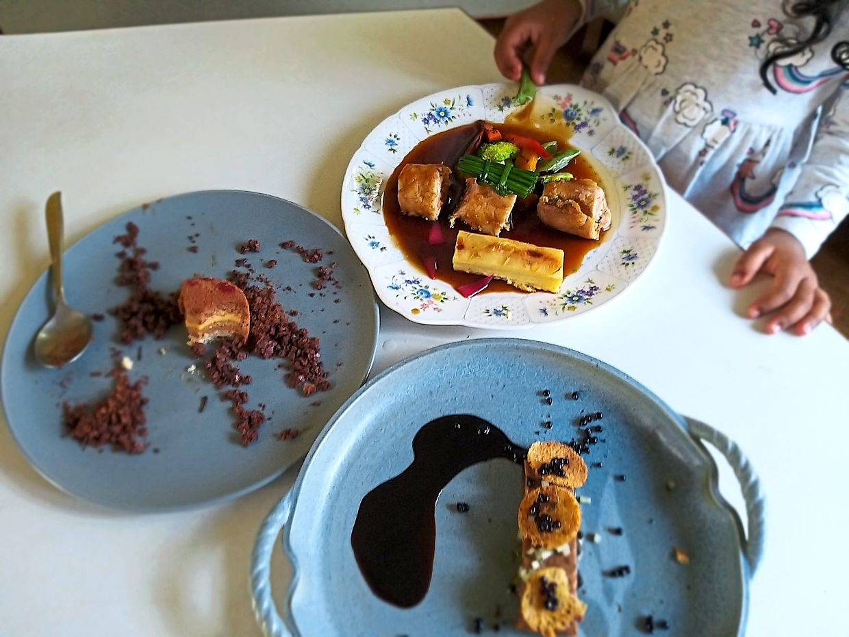 Part of the fun of putting together Tham's DIY cooking kit meals is in plating each dish; even children are likely to find this enjoyable. — ABIRAMI DURAI/The Star
