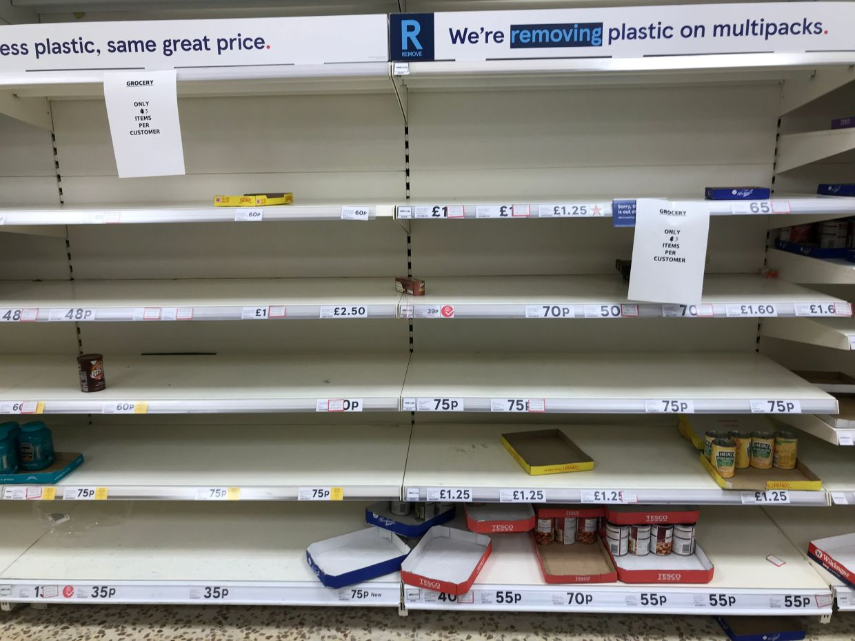 Although supermarket shelves are regularly empty in Britain, many British people are struggling to afford food, with some foregoing meals so their children can eat. — AFP