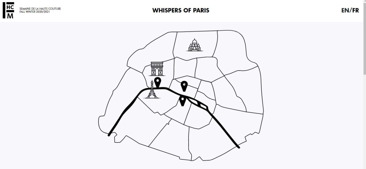 The new Paris Haute Couture Week website shows an interactive map of the city with additional content to be added in as the event proceeds. Photo: FHCM