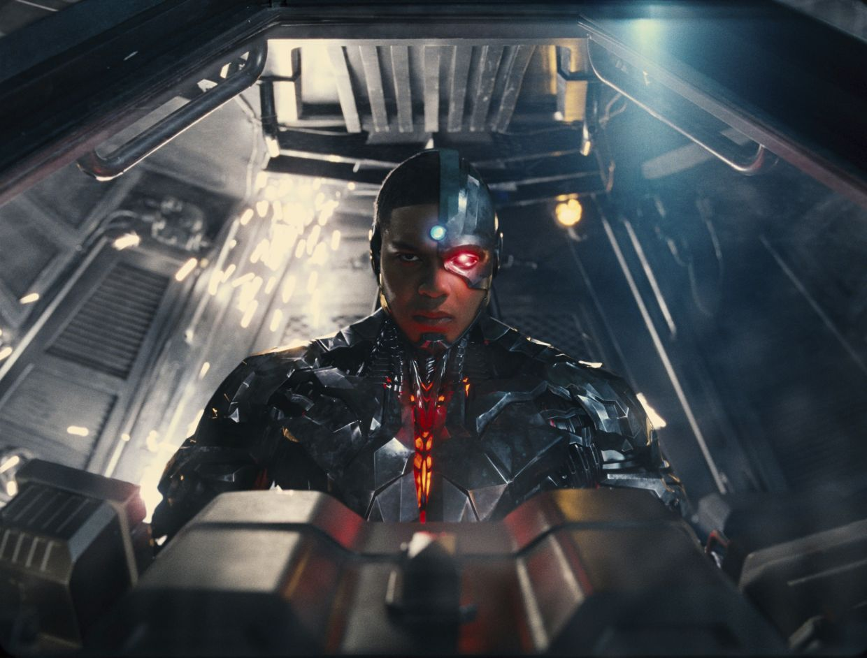 Ray Fisher in a scene from Justice League, as Cyborg. Photo: Warner Bros