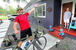 This entertainer has pedalled over 4,800km to bring cheer to people