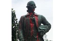 Francis Light statue in Penang vandalised with red paint