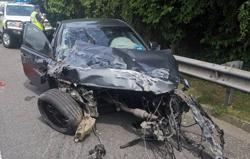 Engine rips free of car engine bay during crash in Melaka, three hurt