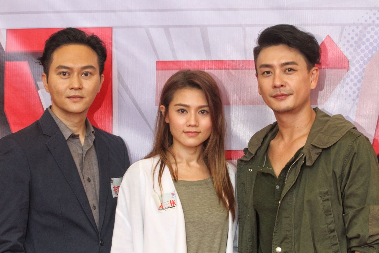 The main cast of online drama The Impossible Three attending the lensing ceremony at Sunway Lagoon Theme Park. From left: Julian Cheung, Chrissie Chau, Bosco Wong. Photo: SAM THAM/The Star