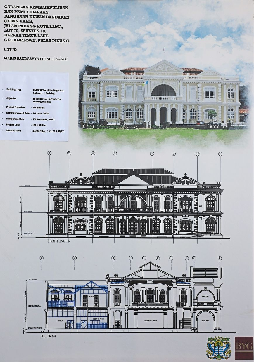 A closeup of the restoration and upgrading plan for the Penang Town Hall building.