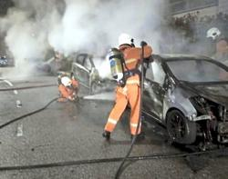 Three cars by the roadside destroyed in morning fire