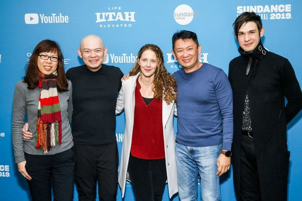 (from left) ACE Pictures business affairs vice president Emma Lee, president Peter Wong, Blush director Debra Eisenstadt, ACE Pictures chief executive officer Johnny Chang and creative affairs vice president Timur Bekbosunov at the 2019 Sundance Film Festival.