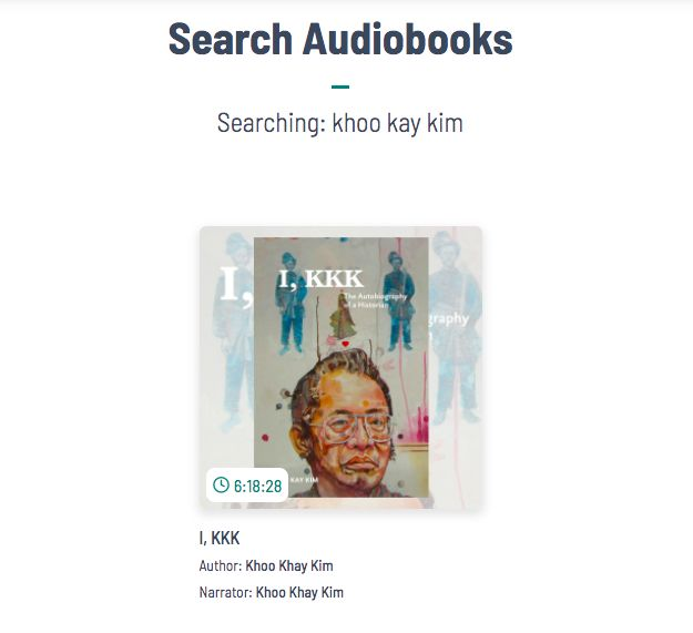 A screenshot on Nusantara Audiobooks' website showing a recording by the late national historian Khoo Kay Kim, reading his autobiography 'I, KKK'.