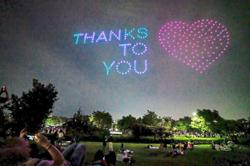 Drones light up sky to remind and be thankful