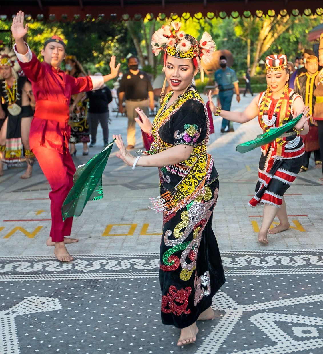 Sarawak Cultural Village dancers performing a welcoming dance at its reopening ceremony. — ZULAZHAR SHEBLEE/The Star