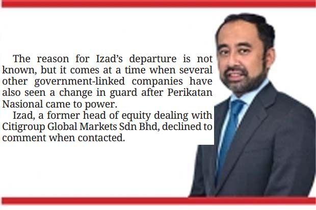 Izad Sallehuddin has stepped down as the chief executive officer of Urusharta Jamaah Sdn Bhd (UJ).