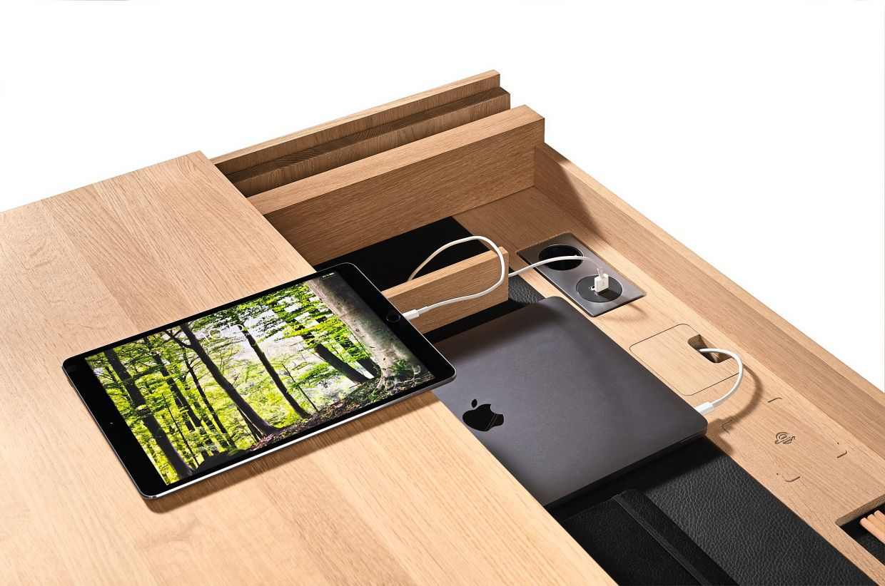 Wooden high-tech furniture: Many manufacturers rely on wood and incorporate the latest technologies like sockets, USB ports and  wireless charging stations for mobile phones.