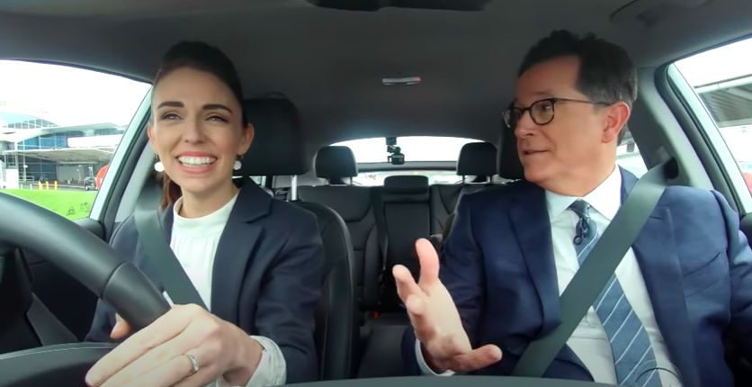 A YouTube screenshot of Ardern fetching Colbert from the airport. Photo: YouTube/The Late Show With Stephen Colbert