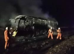Express bus catches fire, 37 manage to escape unhurt