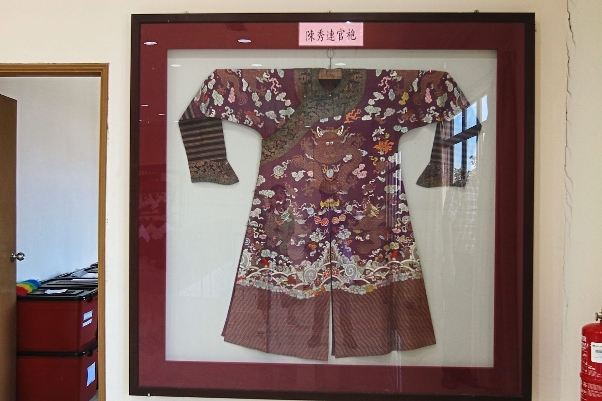 The shirt of one of KL's founding fathers, Chan Sow Lin, on display at the museum.