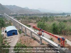 China-Laos railway completes beam installation on both Mekong River bridges
