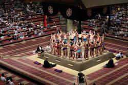 Sumo-Face-masked fans attend first day of sumo in five months