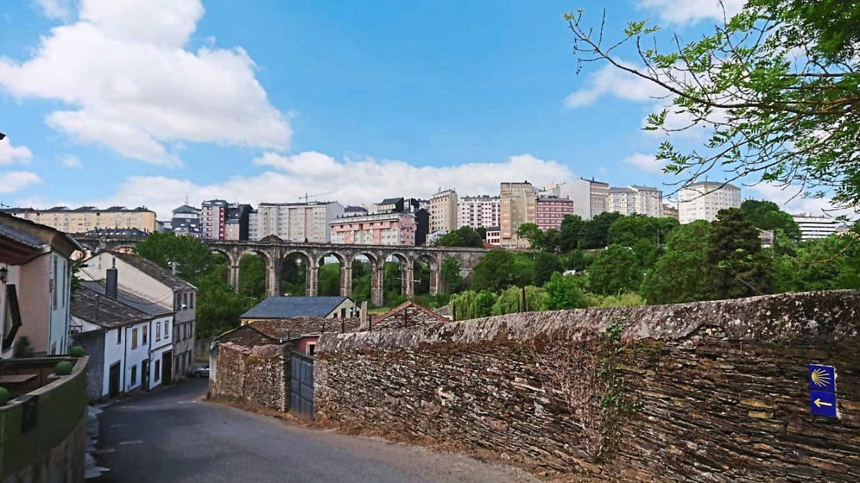 Lugo is a beautiful city situated on a hill.