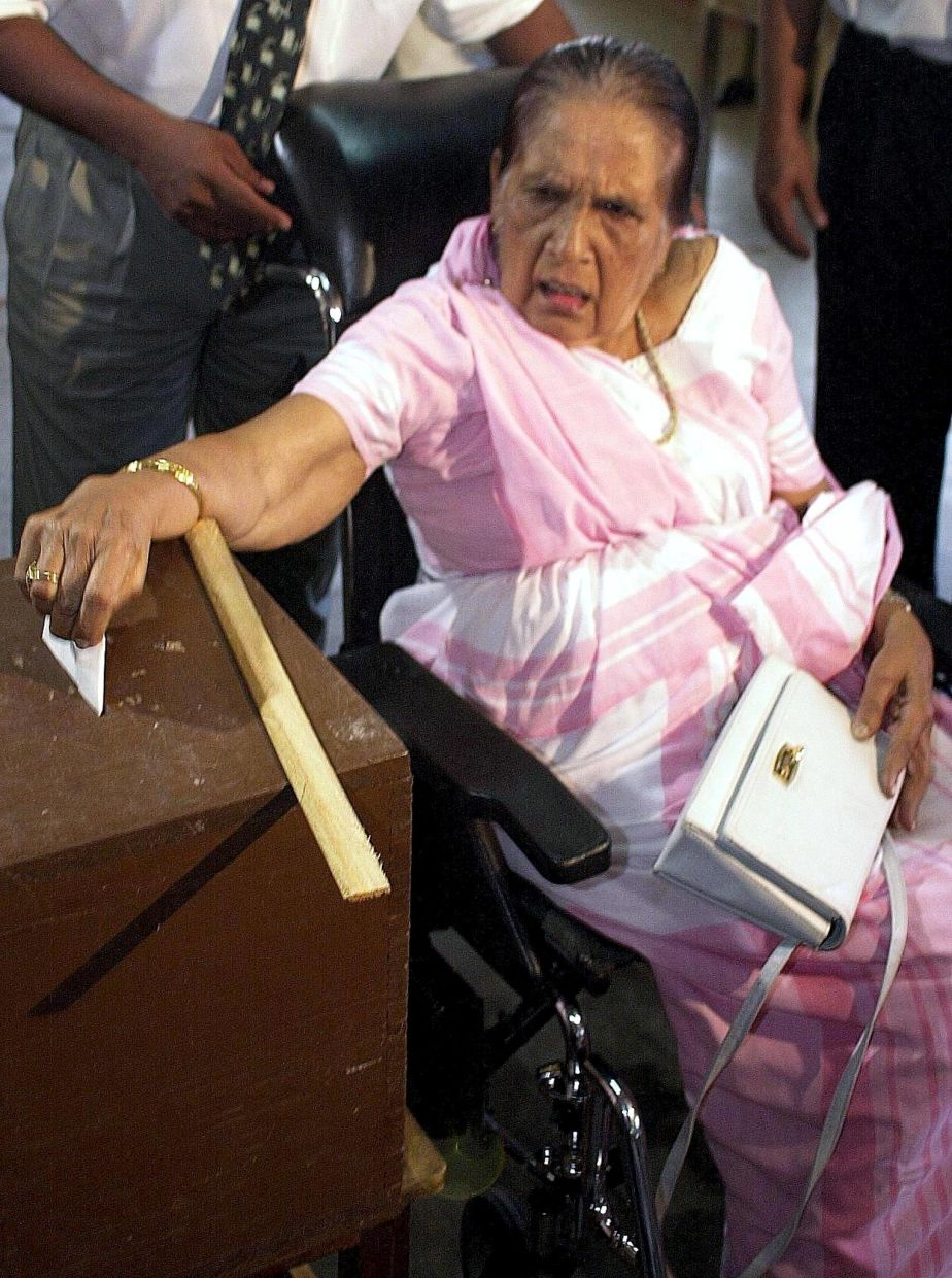 Sirimavo Bandaranaike was world's first non-hereditary female head of government when she became Prime Minister of Sri Lanka in 1960. Photo: AFP/John Macdougall