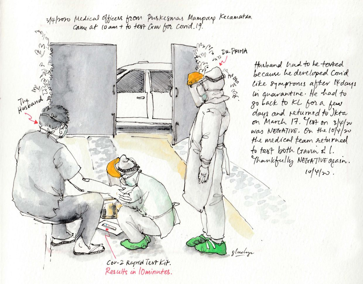 Teo-Simpson sketched a scene where Indonesian medics came to her home to test her husband for Covid-19.