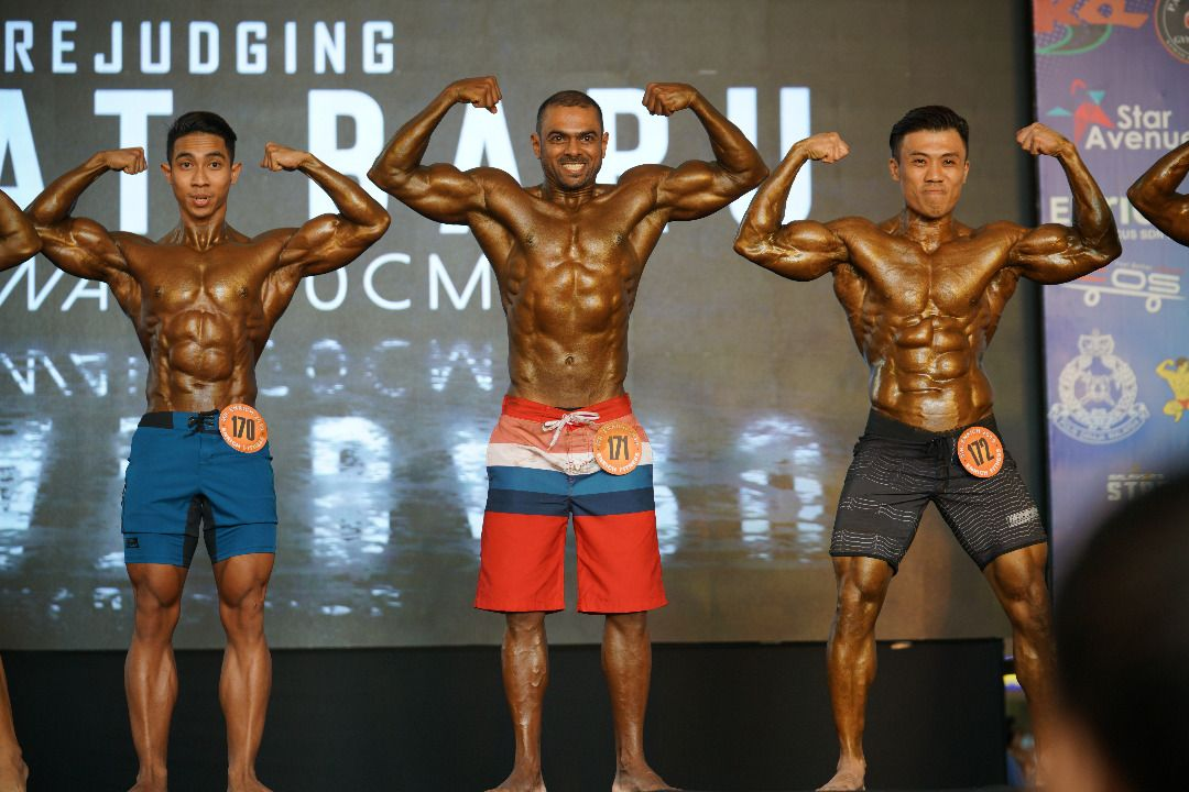 Ameer at the Mr. Enrich competition in Dec 2019, 15 months after beginning his bodybuilding journey.