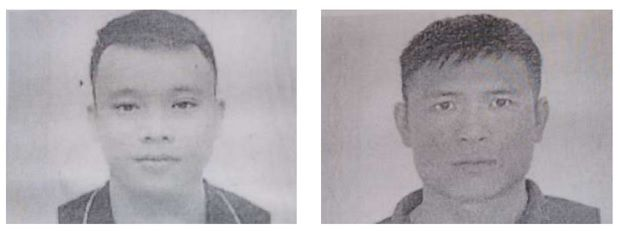 Police are looking for Nguyen Van Cong (left) and Bui Van Manh.