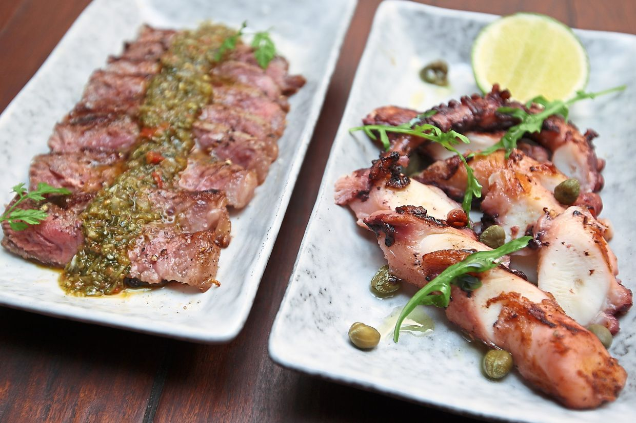 Charred Sirloin (left) as well as Charred Octopus and Capers.