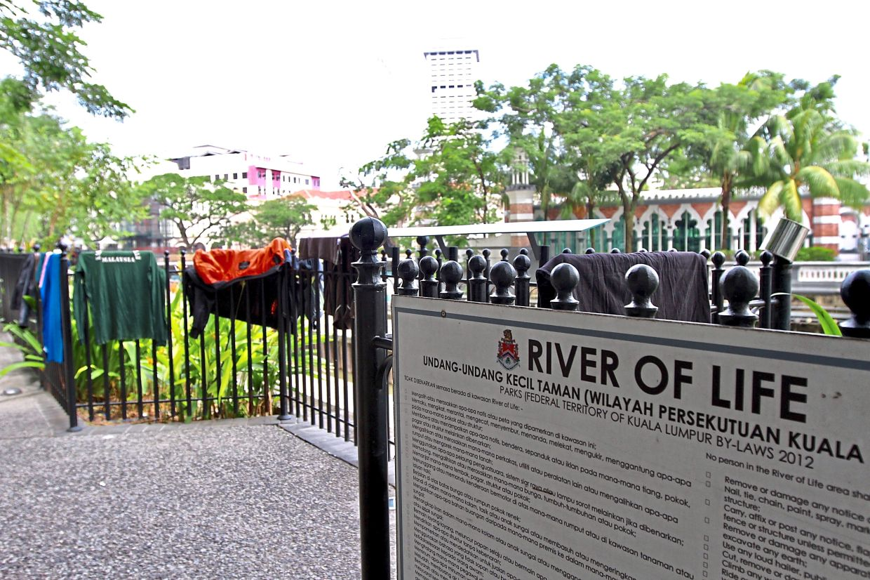 Clothes left to dry along the Heritage Quarter at the River of Life Project.