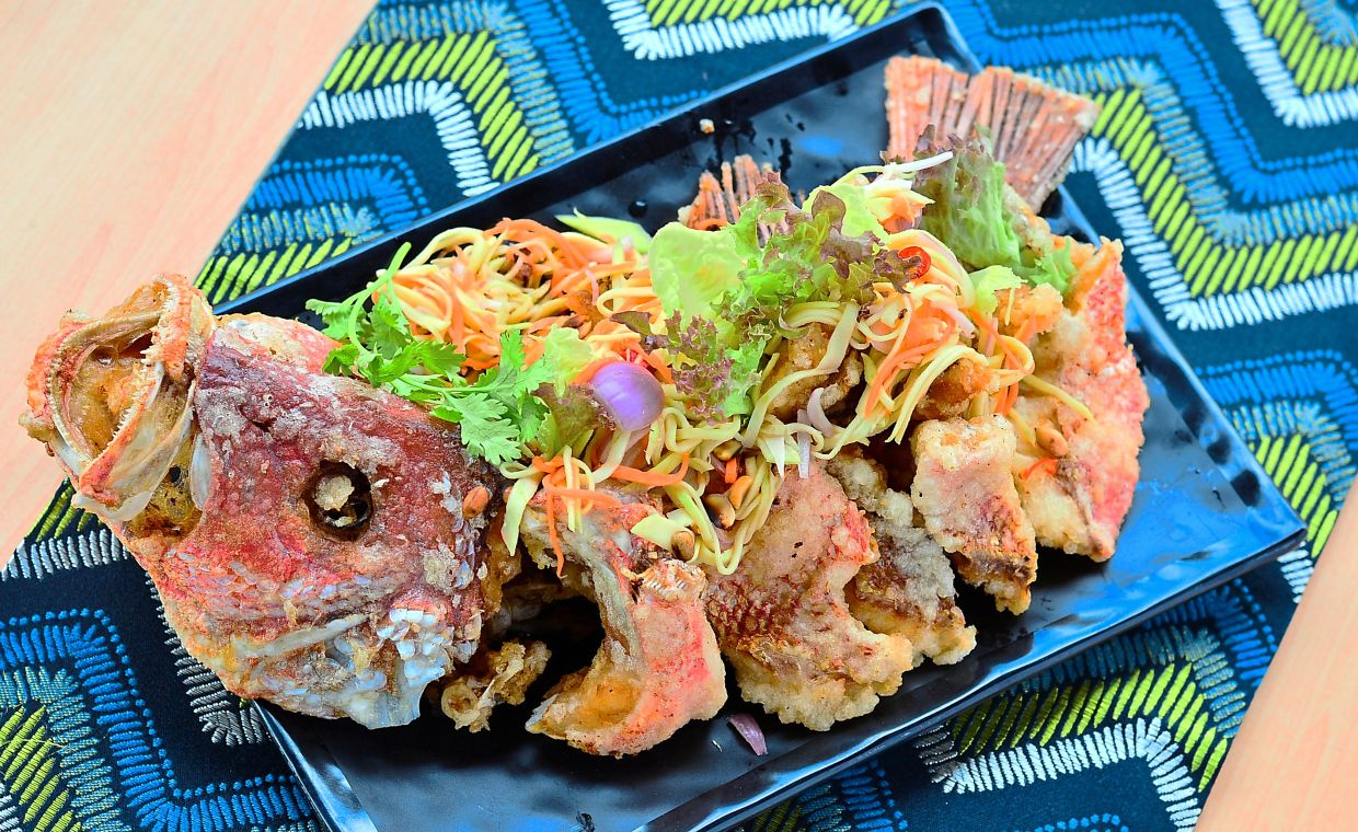 A typical Thai combination is Deep Fried Snapper with Thai Mango Salad.