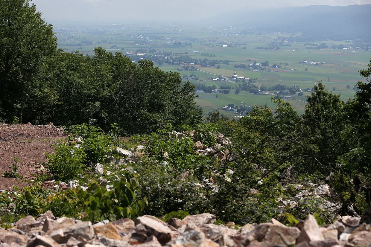 Farmland below Stone Mountain, where the Rural Broadband Cooperative's wireless Internet tower is located in Mill Creek, Pennsylvania. — The Philadelphia Inquirer/TNS