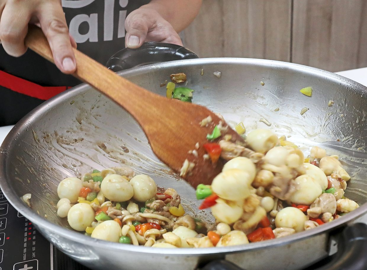 Using different ingredients in the stir-fry ensures the final dish sparkles with a variety of colours.