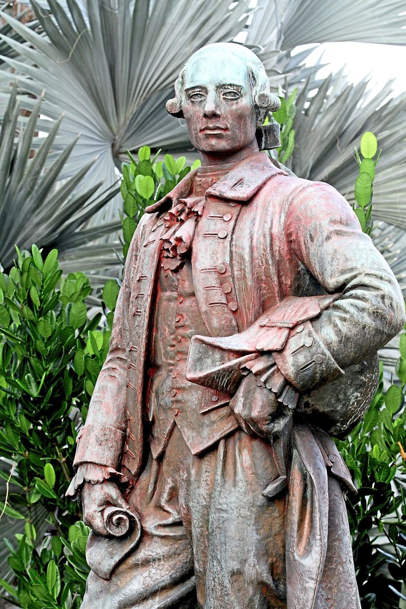 Polarising history: Red paint was splashed on the statue of Captain Francis Light at Fort Cornwallis in Penang early this month.