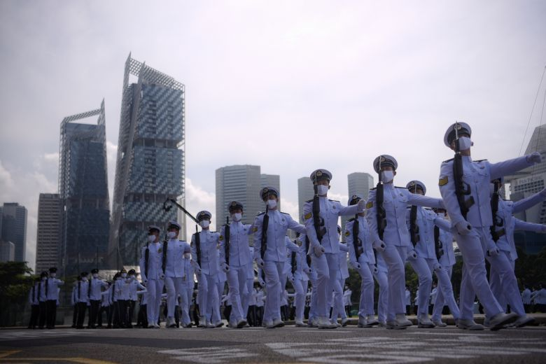 The marching contingent from the Republic of Singapore Navy during the NDP parade rehearsal at the Padang on Sunday (July 26). - The Straits Times/ANN