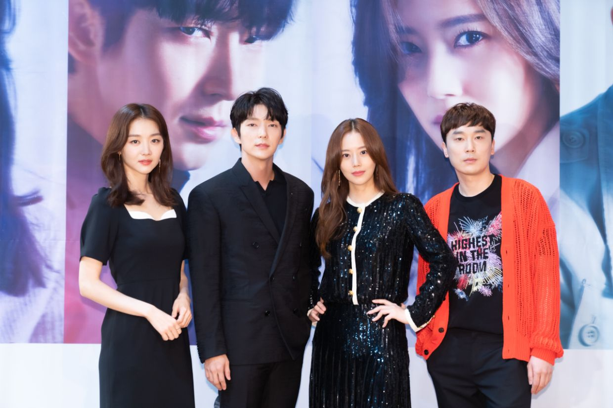 Lead cast members of 'The Flower Of Evil' - (from left) Jang Hee-jin, Lee Joon-ki, Moon Chae-won and Seo Hyeon-woo - pose for a picture at a promotional. Photo: Handout