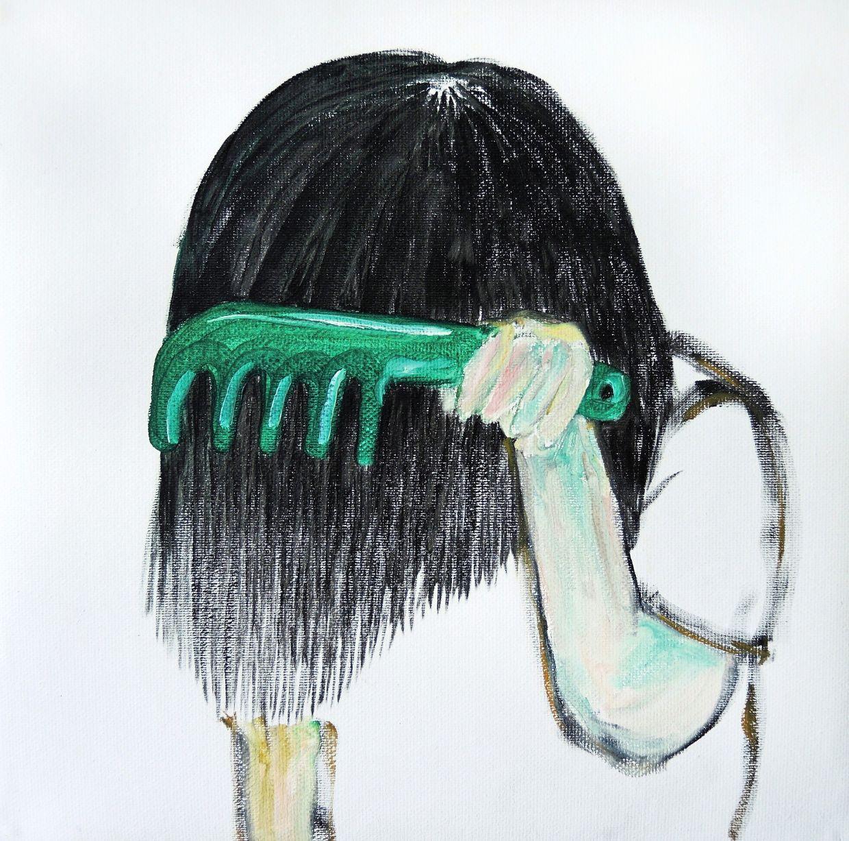 'Do You Like My Straight Hair' (oil on canvas, 2020).